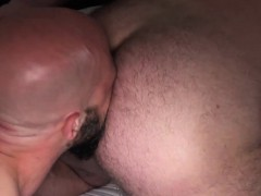 Chubby bear rimmed and drilled outdoors