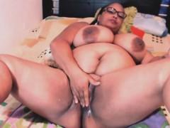 Bbw Ebony With Monster Tits Enjoys Fingering Wet Pussy