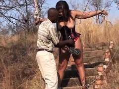 Naughty Man Spanking Babe Outdoors
