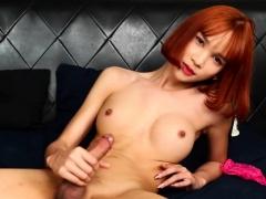 Redhead Ladyboy Wanks And Cums On Herself