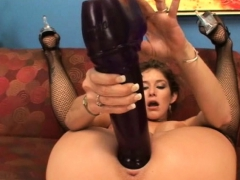 busty brunette felony cumming on big brutal dildos