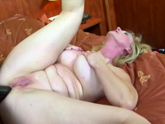 Granny gets ass fucked with dildo and big black cock