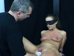 Dirty slut gets nipple and cum-hole torture from a domme