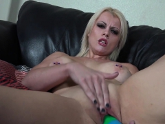 sexy nadia stuffs her tight cunt with a rainbow dildo