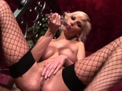 Hot girl masturbating with a long dildo