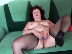 Masturbation in fishnet stockings