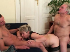 horny old bitch takes two cocks from both sides granny sex movies