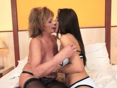 busty les granny in stockings fingering girl