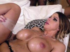 Busty babe rides big cock