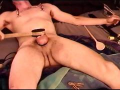 Auto Cbt, Young Dude Punishes His Own Balls And Tits.
