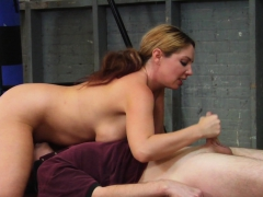 Stacked Cheerleader Gives Her Coach A Special Handjob!