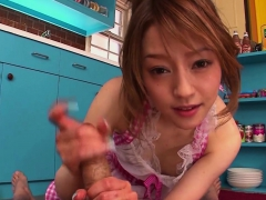 Japanese Cutie Gives A Blowjob In The Kitchen