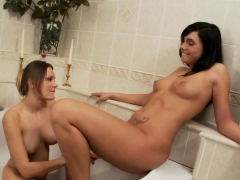 A hot bath session with two lovely lesbians
