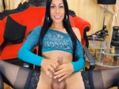 Horny Tranny Stroking Her Massive Hard Dick