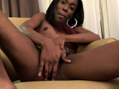 Black Trans Amateur Masturbates On The Sofa