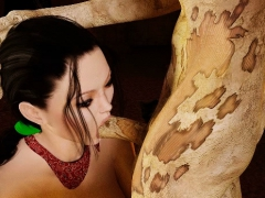 3d brunette penetrated by scary zombie!