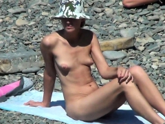 spy naked girls at the beach shore Striptease