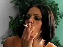 Dirty bitch pleasing her chap whilst smokin' a cigarette