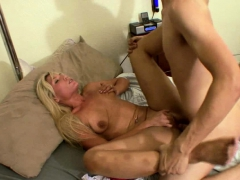 blonde wife enjoys her son's friend's penis