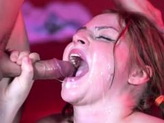 sexy pornstar bukkake with swallow