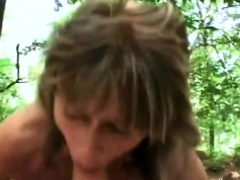 mature slut gets banged in the forest