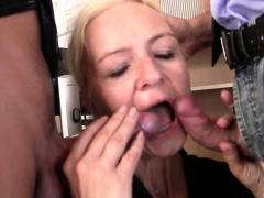 skinny-blonde-old-mature-woman-swallows-two-cocks-for-work