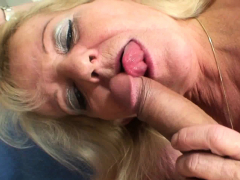 old blonde mother in white stockings rides his huge cock