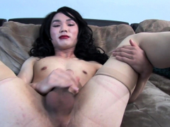 Lingerie Asian Tranny Jerking At Casting
