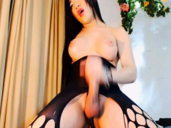 Busty Shemale Jacking her Big Hard Dick
