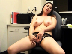 Hot & Sexy Curvy Girl Takes Pleasure At Work ( 1 )