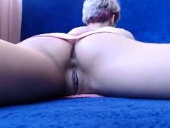 Upskirt and masturbation on the floor