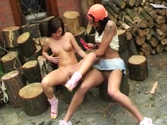 real-lesbian-strapon-cutting-wood-and-eating-pussy