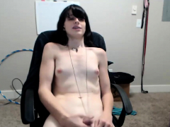 Amateur Raven Haired TS Camgirl Plays with Her Cock