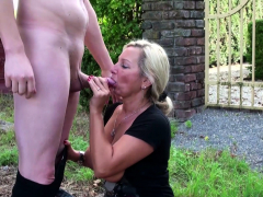 german-step-mom-catch-son-wank-in-garden-and-help-with-fuck