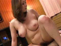 Older japanese wench plays with herself till that babe comes