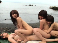 JAV beach harem sex party on an uninhabited island Subtitles
