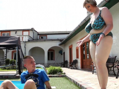 Naughty bbw dominates teen by the pool