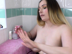 Big natural tits brunette babe painting her nails topless