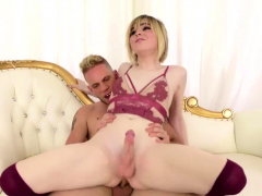 Gorgeous Blonde TS Ella Hollywood gets her ass fucks hard