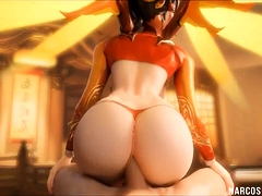 Sexy ass Overwatch babes get raw anal pounding