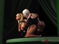 3d hot active shemale fucks horny girlfriend on model podium