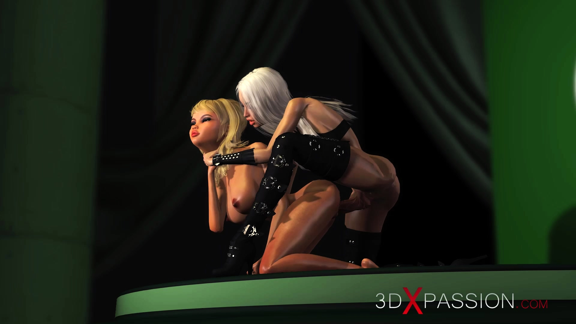 3D Shemale Videos 3d hot active shemale fucks horny girlfriend on model podium