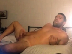 bearded-dad-stroking-his-big-cock