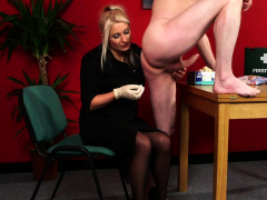 femdom babe gives head and reach around