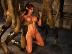 3D Creatures Cum On Elf Princesses!