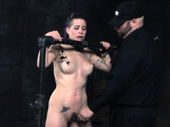 restrained slave whipped and toyed by her dom