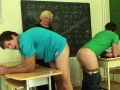 Blonde granny teacher takes double penetration