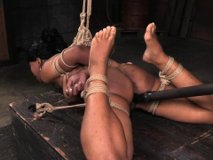 Gagged ebony sub spanked before pussytoyed