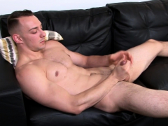 Muscly army guy strokes