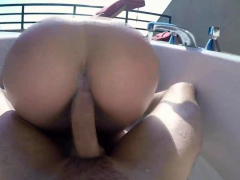 Fucking PAWG hottie in outdoor Jacuzzi on a sunny day